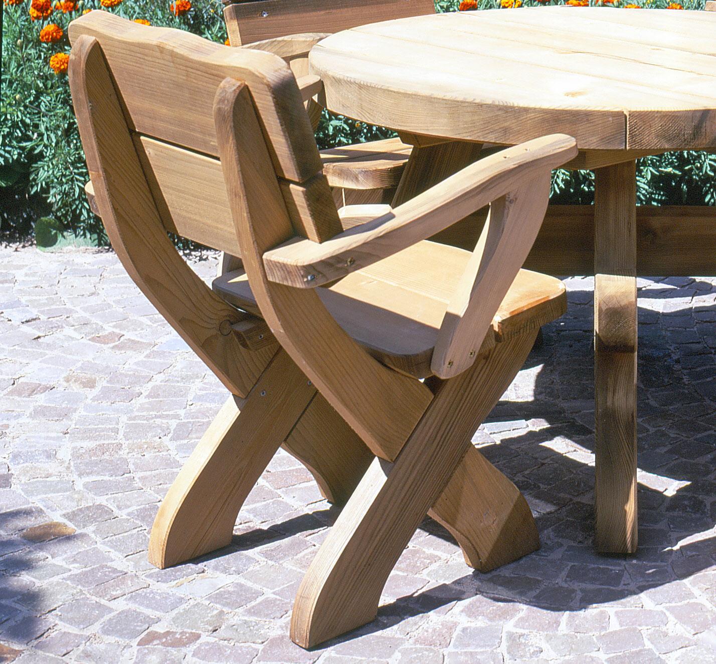 gartenm bel und zubeh r rustikale eifel stuhl mit armlehne kaufen. Black Bedroom Furniture Sets. Home Design Ideas
