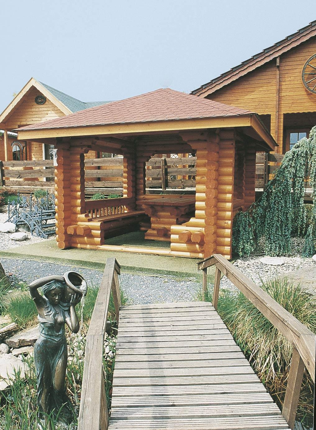 gartenlaube grilllaube und pavillon aus holz offen rustika. Black Bedroom Furniture Sets. Home Design Ideas