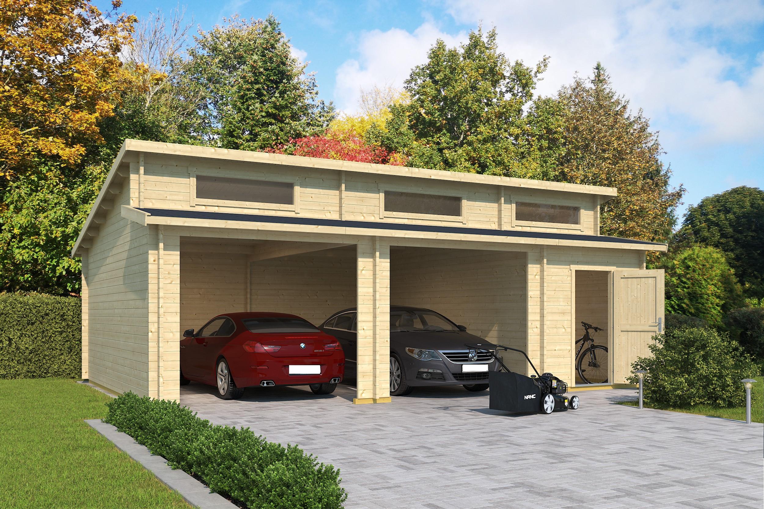 carport und garage aus blockbohlen birke kaufen. Black Bedroom Furniture Sets. Home Design Ideas