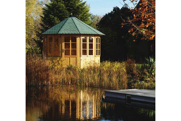 gartenlaube grilllaube und pavillon aus holz geschlossen gartenoase 10eck rund kaufen. Black Bedroom Furniture Sets. Home Design Ideas
