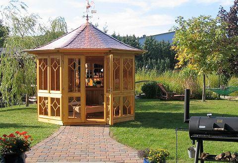 Pavillon aus holz geschlossen kaufen for Gartenlaube aus holz