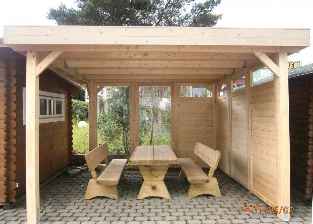 gartenlauben grilllauben und pavillons aus holz offen. Black Bedroom Furniture Sets. Home Design Ideas