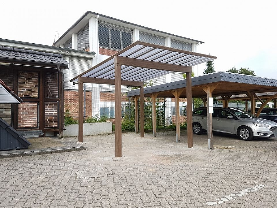 carport und garage alu im holzdesign doppelcarport kaufen. Black Bedroom Furniture Sets. Home Design Ideas