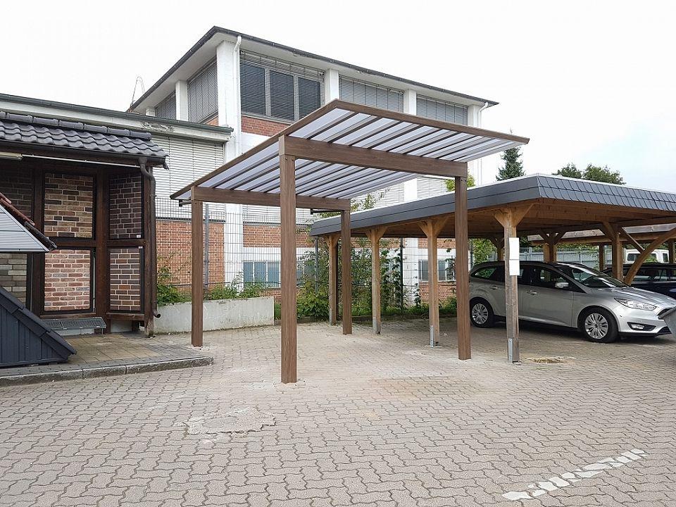 carport und garage alu im holzdesign doppelcarport kaufen. Black Bedroom Furniture Sets. Home Design Ideas