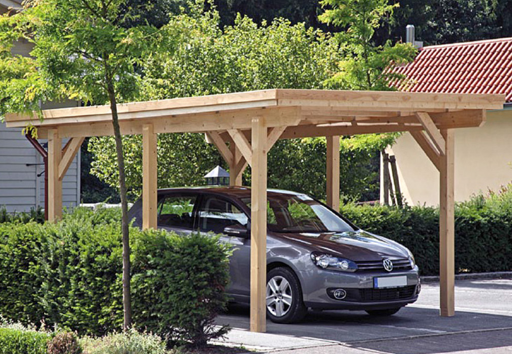 Carport und Garage aus Holz Rügen 2 Geräteraum kaufen