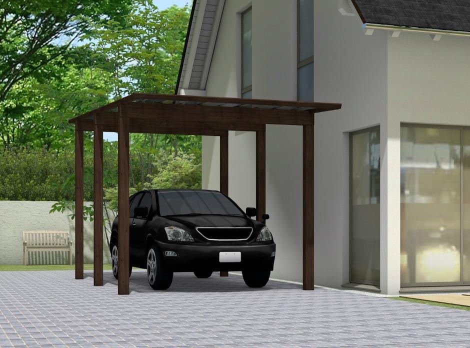 Carport und Garage Alu im Holzdesign Singlecarport mit 6 Pfosten kaufen