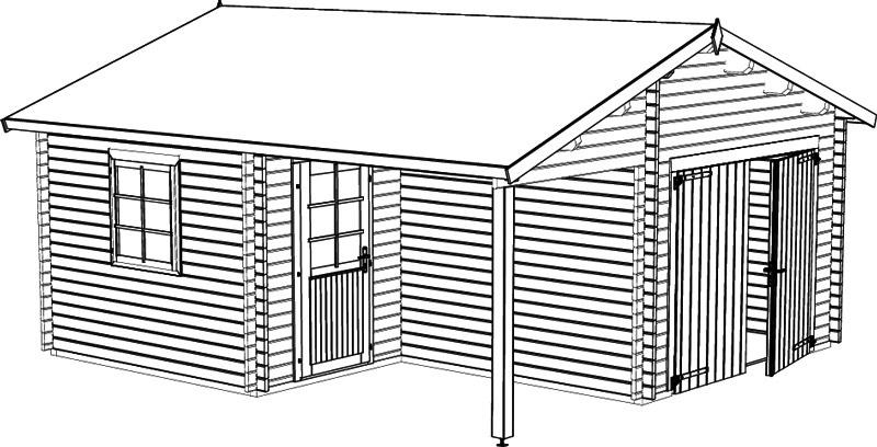 Carport und Garage aus Blockbohlen Robinie 1 kaufen
